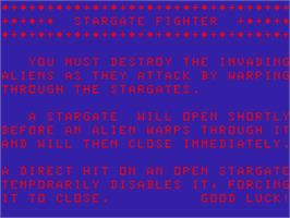 Title screen of Stargate Fighter [Dimp] on the Acorn Atom.